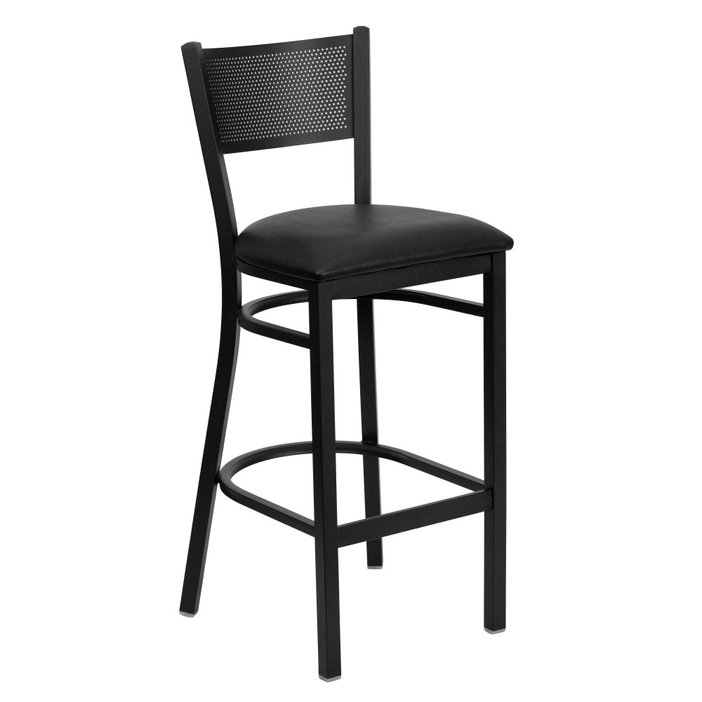 Grid Back Metal Restaurant Barstool with Black Vinyl Seat - Black Powder Coat Frame