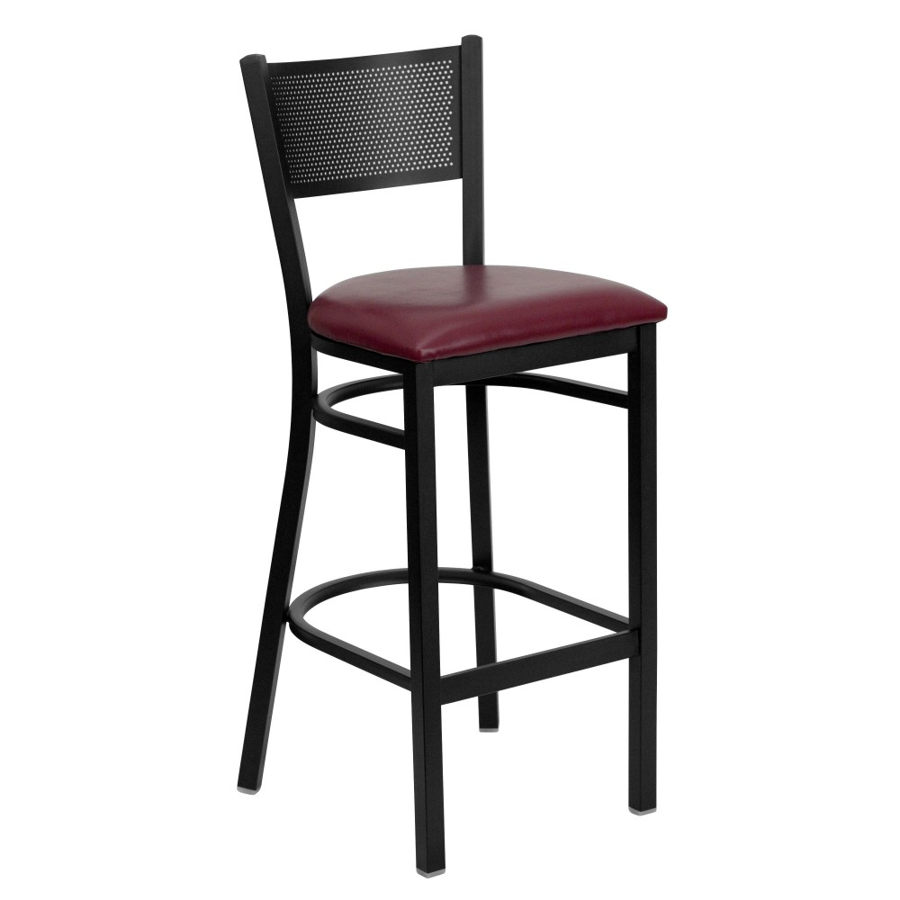 Grid Back Metal Restaurant Barstool with Burgundy Vinyl Seat - Black Powder Coat Frame