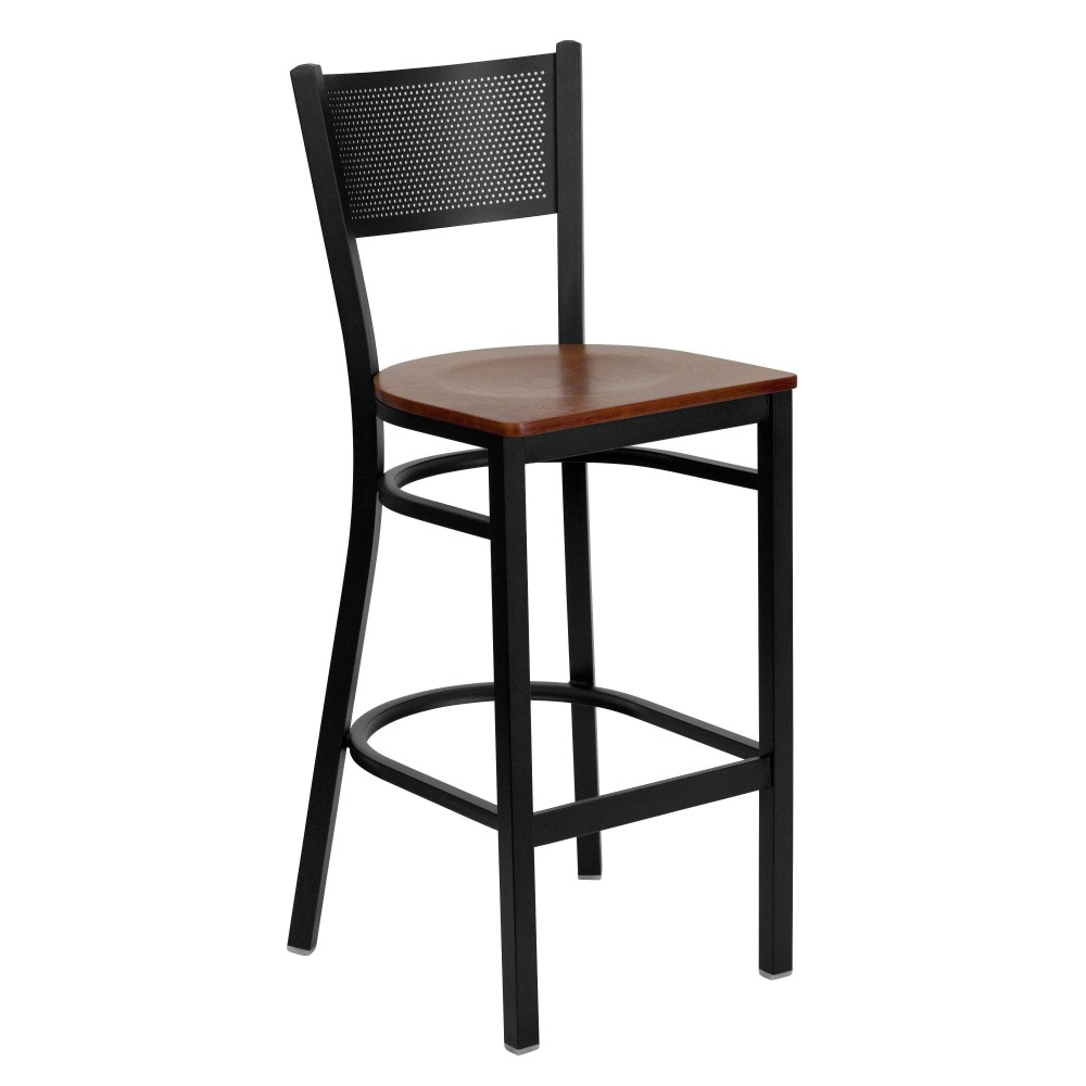 Grid Back Metal Restaurant Barstool with Cherry Wood Seat - Black Powder Coat Frame