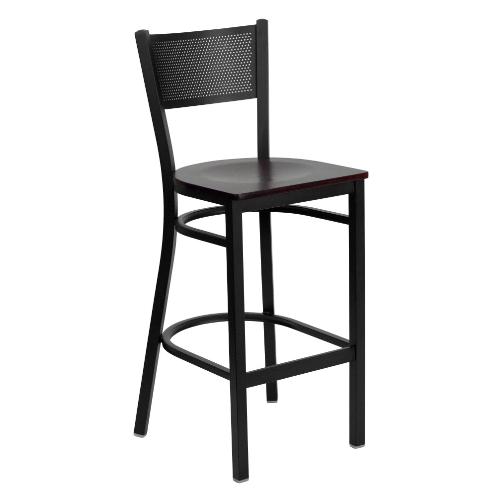 Grid Back Metal Restaurant Barstool with Mahogany Wood Seat - Black Powder Coat Frame