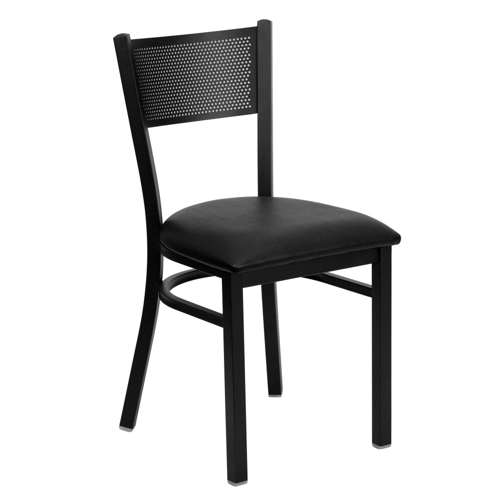 Flash Furniture XU-DG-60115-GRD-BLKV-GG Grid Back Metal Restaurant Chair with Black Vinyl Seat Black Powder Coat Frame