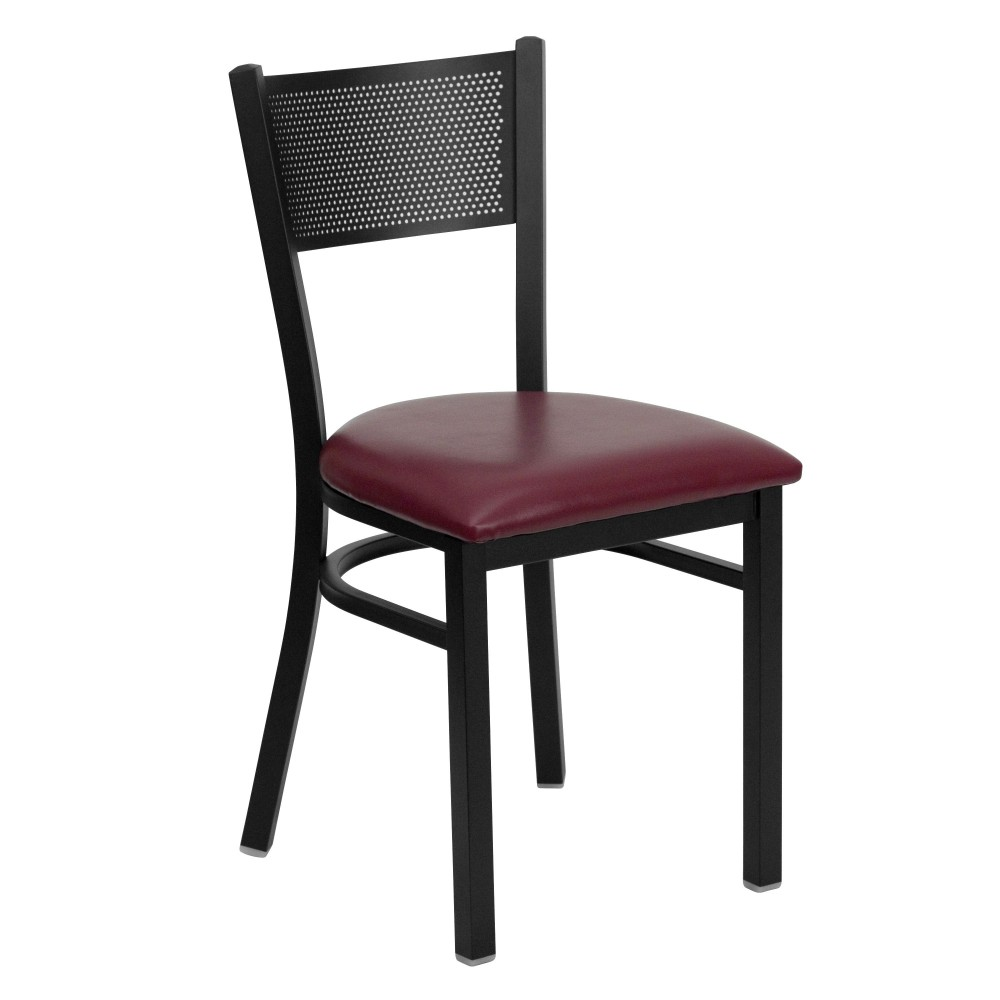 Flash Furniture XU-DG-60115-GRD-BURV-GG Grid Back Metal Restaurant Chair with Burgundy Vinyl Seat Black Powder Coat Frame