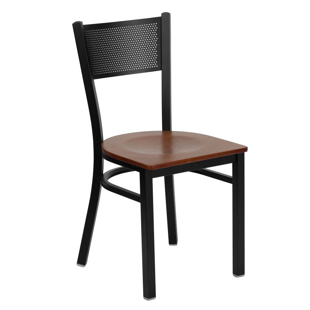 Flash Furniture XU-DG-60115-GRD-CHYW-GG Grid Back Metal Restaurant Chair with Cherry Wood Seat Black Powder Coat Frame