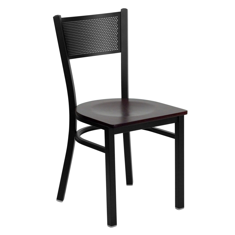 Flash Furniture XU-DG-60115-GRD-MAHW-GG Grid Back Metal Restaurant Chair with Mahogany Wood Seat Black Powder Coat Frame