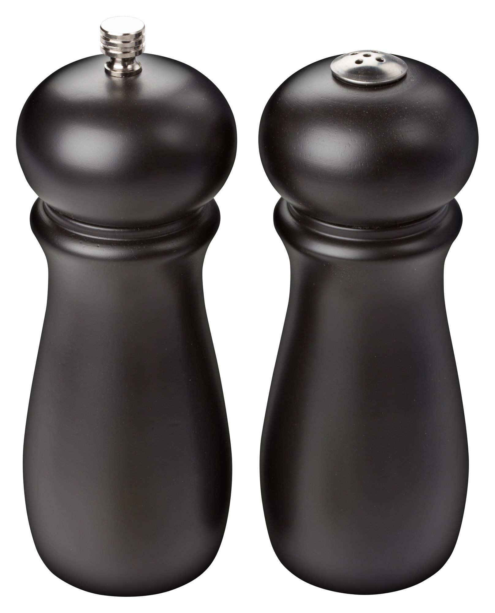 Winco SP-612 2-Piece Rubberwood Salt Shaker & Pepper Grinder