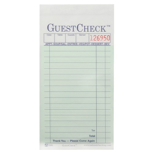 Guest Check Pad, Numbered, 2 Part, 14 Lines - Yellow Paper