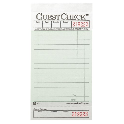 Guest Check Pad, Numbered, One Part, 16 Lines- Green Paper