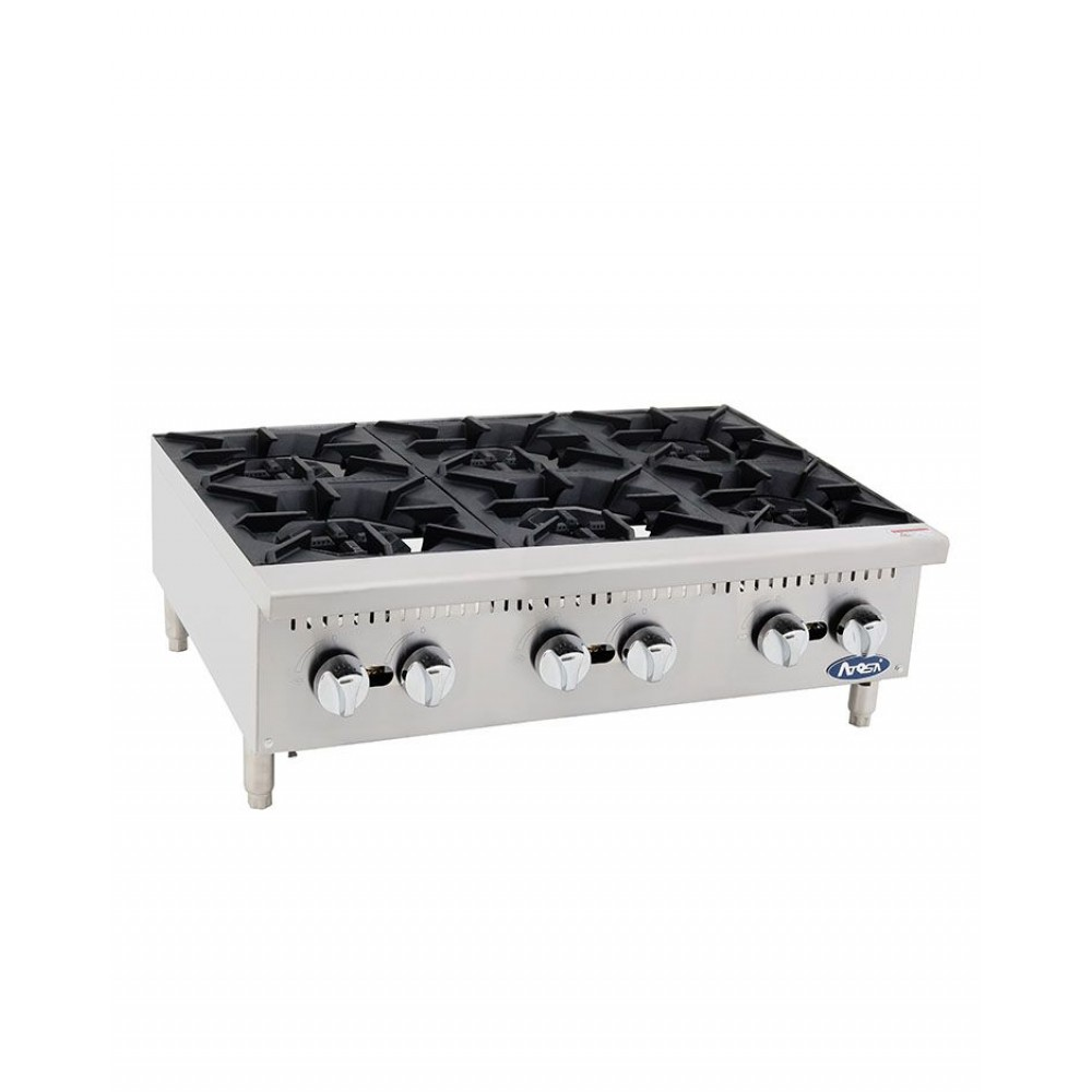 Atosa ATHP-36-6 HD Heavy Duty Stainless Steel 36'' Six Burner Hot Plate