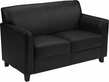 HERCULES Diplomat Series Black Leather Love Seat