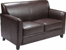 HERCULES Diplomat Series Brown Leather Love Seat