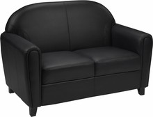 HERCULES Envoy Series Black Leather Love Seat