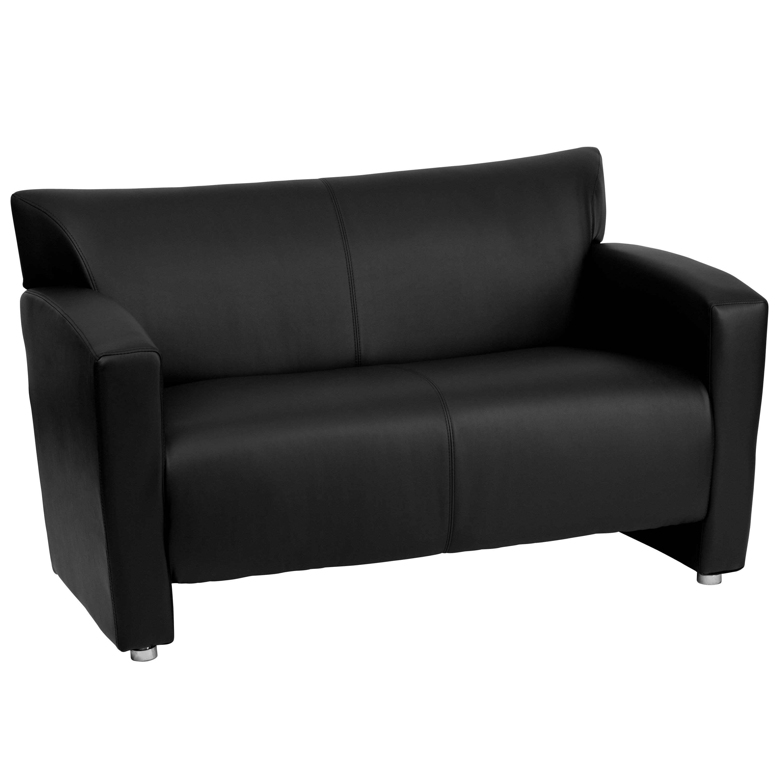 HERCULES Majesty Series Black Leather Love Seat