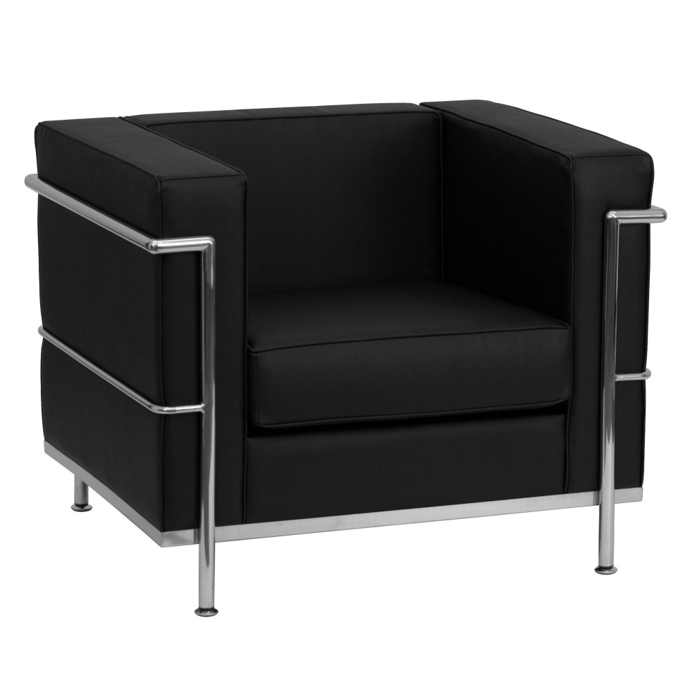 Flash Furniture ZB-REGAL-810-1-CHAIR-BK-GG HERCULES Regal Series Contemporary Black Leather Chair with Encasing Frame