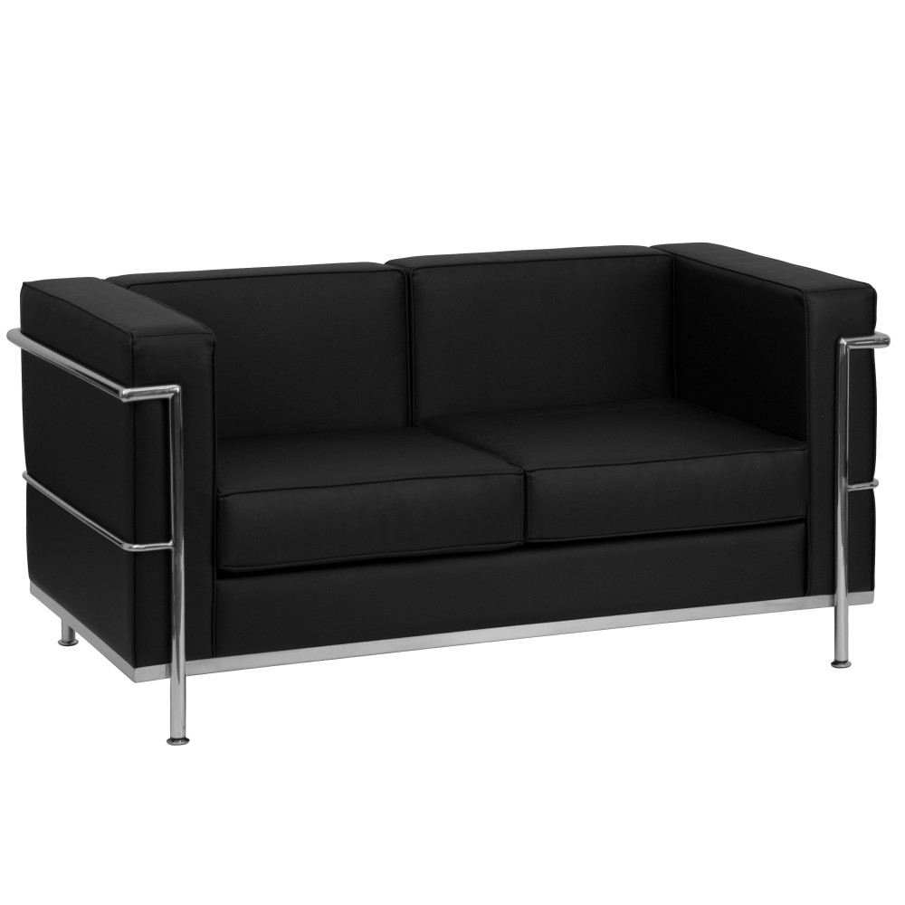 HERCULES Regal Series Contemporary Black Leather Love Seat with Encasing Frame