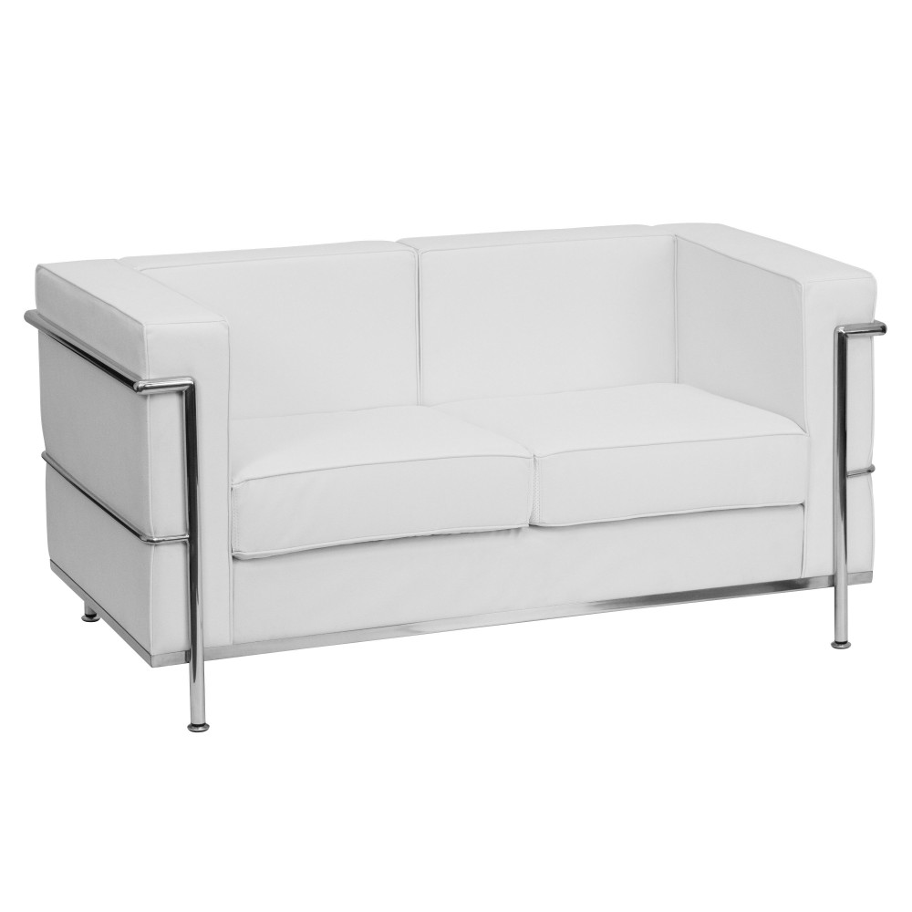 HERCULES Regal Series Contemporary White Leather Love Seat with Encasing Frame