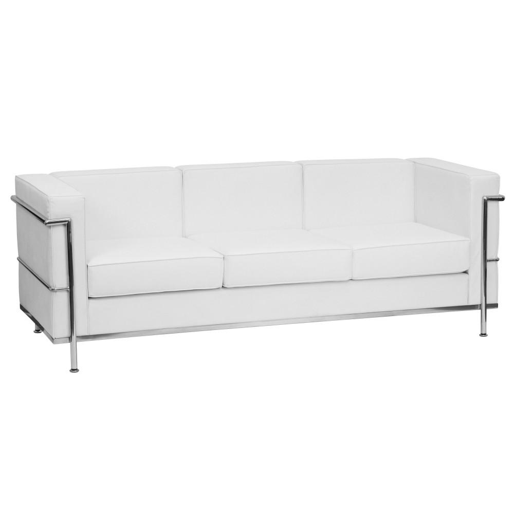 HERCULES Regal Series Contemporary White Leather Sofa with Encasing Frame