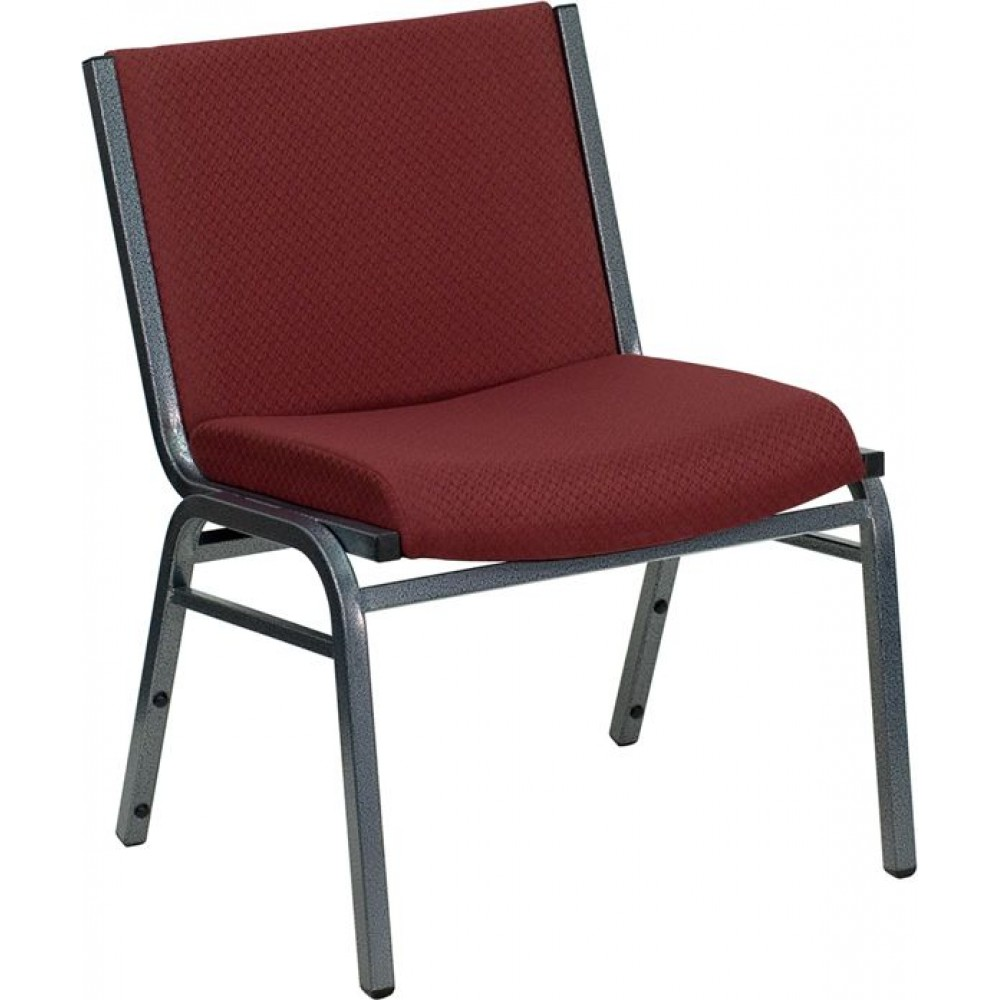 HERCULES Series - Big and Tall 1000lb Extra-Wide Burgundy Fabric Stack Chair - Black Fabric