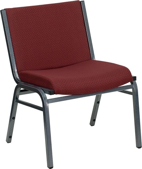 Flash Furniture XU-60555-BY-GG HERCULES Series 1000 Lb. Big and Tall Extra-Wide Burgundy Fabric Stack Chair Black Fabric