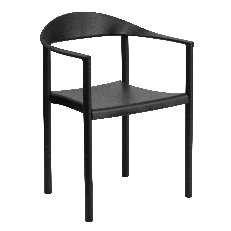 Flash Furniture RUT-418-BK-GG HERCULES Series 1000 Lb. Capacity Black Plastic Cafe Stack Chair