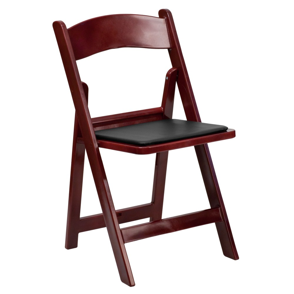 HERCULES Series 1000 lb. Capacity Mahogany Resin Folding Chair with Black Vinyl Padded Seat