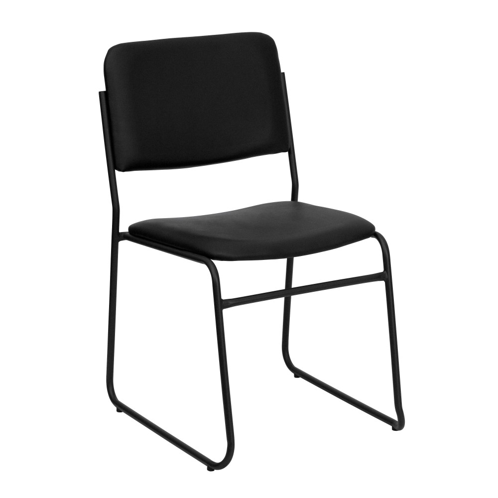 HERCULES Series 1500 lb. Capacity High Density Black Vinyl Stacking Chair with Sled Base
