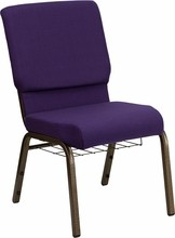 Flash Furniture FD-CH02185-GV-ROY-BAS-GG HERCULES Series 18.5'' Royal Purple Church Chair with Communion Cup Book Rack/Gold Vein Frame