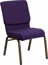 HERCULES Series 18.5'' Wide Royal Purple Stacking Church Chair with 4.25'' Thick Seat - Gold Vein Frame