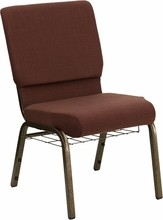 "Flash Furniture FD-CH02185-GV-10355-BAS-GG HERCULES Series 18.5"" Brown Fabric Church Chair/Gold Vein Finish, Book Basket"
