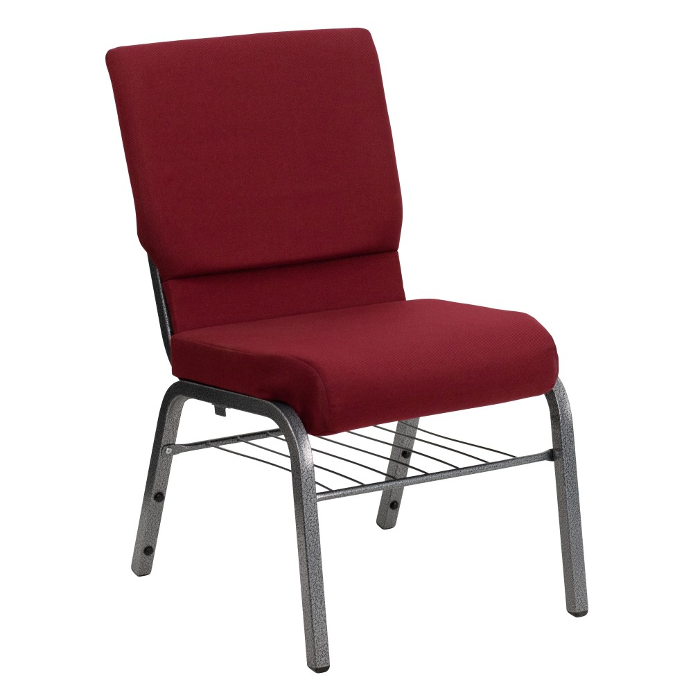 "Flash Furniture XU-CH-60096-BY-SILV-BAS-GG Hercules Series 18.5"" Burgundy Fabric Church Chair/Silver Vein Finish, Book Basket"