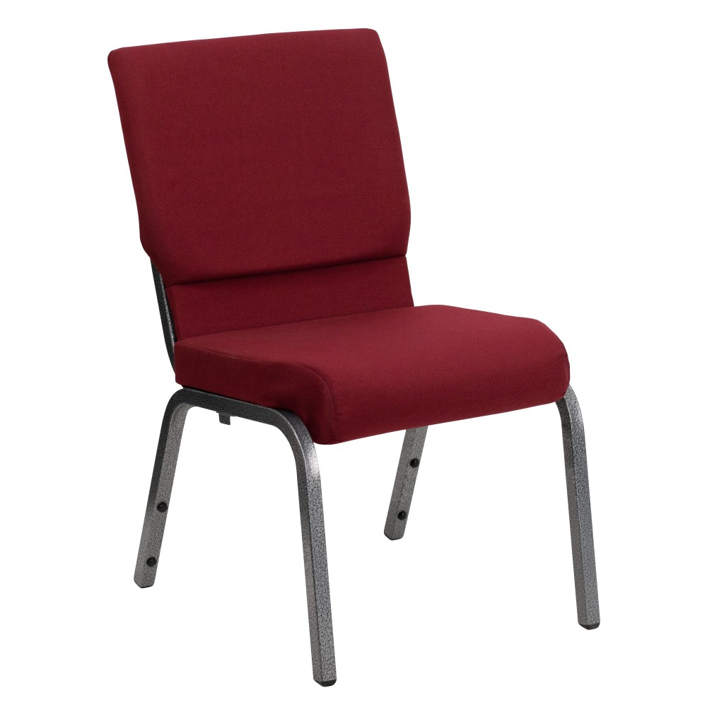 "Flash Furniture XU-CH-60096-BY-SILV-GG Hercules Series 18.5"" Burgundy Fabric Church Chair/Silver Vein Finish"