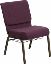 "Flash Furniture FD-CH02185-GV-005-BAS-GG HERCULES Series 18.5"" Plum Fabric Church Chair/Gold Vein Finish, Book Basket"