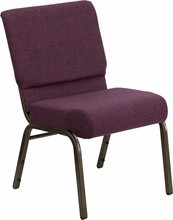 "Flash Furniture FD-CH02185-GV-005-GG HERCULES Series 18.5"" Plum Fabric Church Chair/Gold Vein Finish"