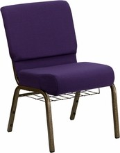HERCULES Series 21'' Extra Wide Royal Purple Church Chair with 4'' Thick Seat, Communion Cup Book Rack - Gold Vein Frame
