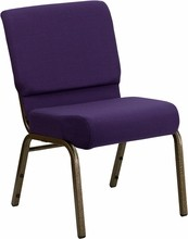 HERCULES Series 21'' Extra Wide Royal Purple Stacking Church Chair with 4'' Thick Seat - Gold Vein Frame