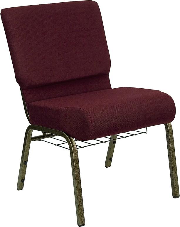 "Flash Furniture FD-CH0221-4-GV-3169-BAS-GG HERCULES Series 21"" Extra Wide Burgundy Fabric Church Chair/Gold Vein Finish, Book Basket"