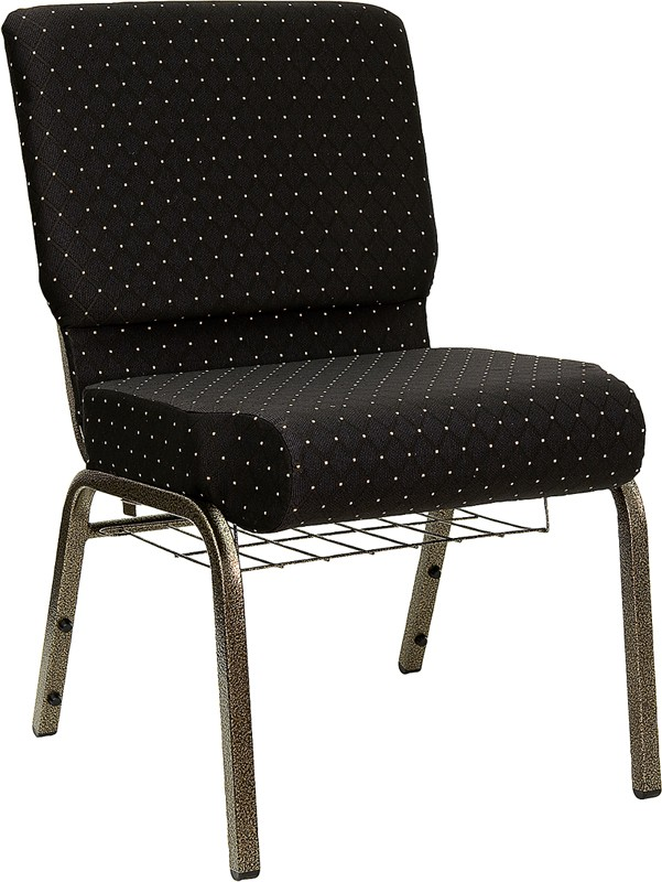 "Flash Furniture FD-CH0221-4-GV-S0806-BAS-GG HERCULES Series 21"" Extra Wide Black Dot Fabric Church Chair/Gold Vein Finish, Book Basket"