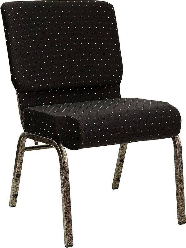 "Flash Furniture FD-CH0221-4-GV-S0806-GG HERCULES Series 21"" Extra Wide Black Dot Fabric Church Char/Gold Vein Finish"