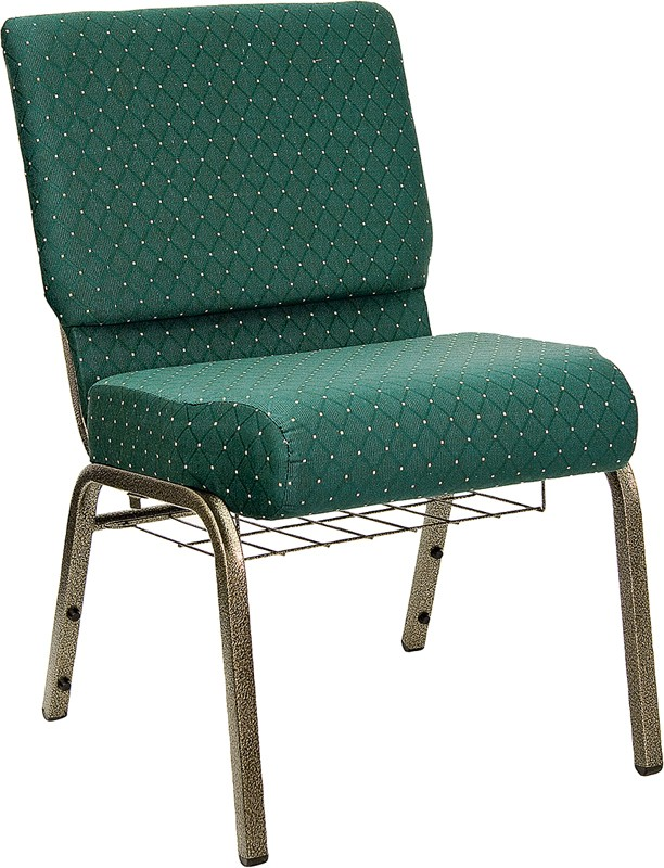 "Flash Furniture FD-CH0221-4-GV-S0808-BAS-GG HERCULES Series 21"" Extra Wide Green Dot Fabric Church Chair/Gold Vein Finish, Book Basket"