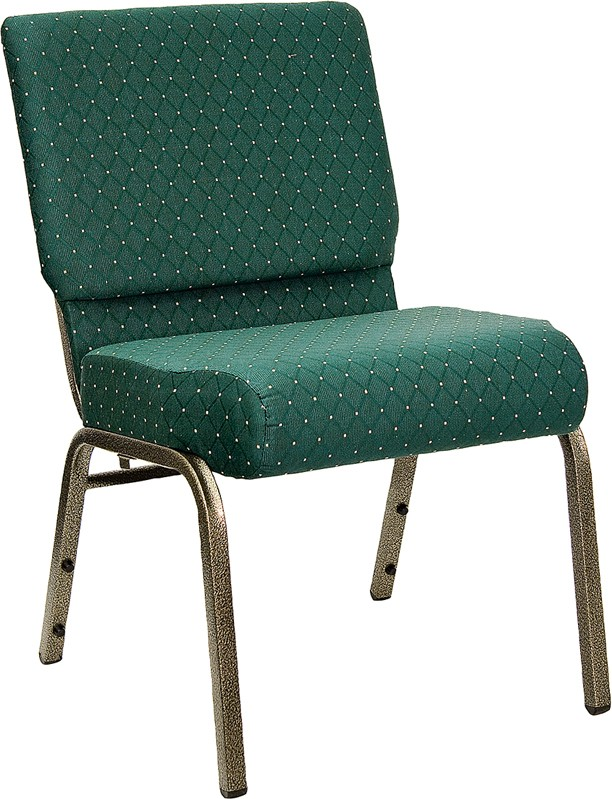 "Flash Furniture FD-CH0221-4-GV-S0808-GG HERCULES Series 21"" Extra Wide Green Dot Fabric Church Char/Gold Vein Finish"