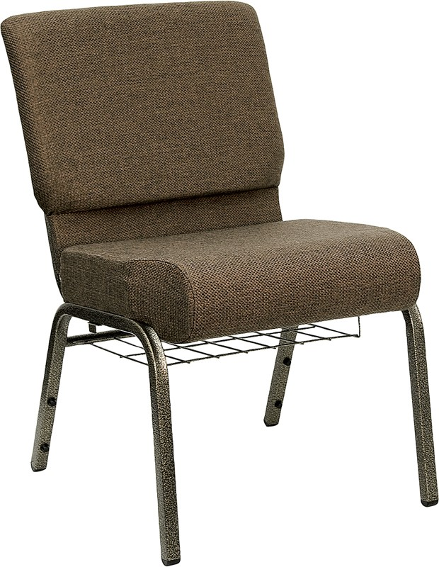 "Flash Furniture FD-CH0221-4-GV-S0819-BAS-GG HERCULES Series 21"" Extra Wide Brown Fabric Church Chair/Gold Vein Finish, Book Basket"