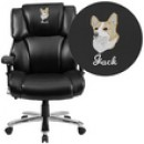 HERCULES Series 24/7 Intensive Use, Big & Tall 400 lb. Capacity Black Leather Executive Swivel Chair with Lumbar Support Knob