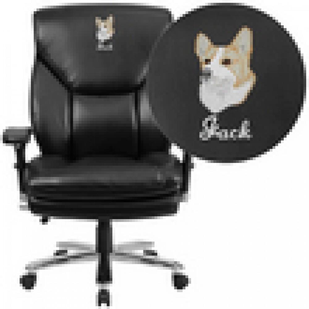 Flash Furniture GO-2085-gg HERCULES Series 24/7 Intensive Use, Multi-Shift, Big & Tall 400 Lb. Capacity Black Fabric Executive Swivel Chair with Lumbar Support Knob