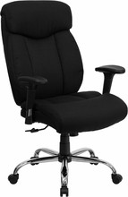 Flash Furniture GO-1235-BK-FAB-A-GG HERCULES Series 350 Lb. Capacity Big and Tall Black Fabric Office Chair with Extra Wide Seat and Arms