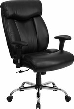 Flash Furniture GO-1235-BK-LEA-A-GG HERCULES Series 350 Lb. Capacity Big and Tall Black Leather Office Chair with Extra WIDE Seat and Arms