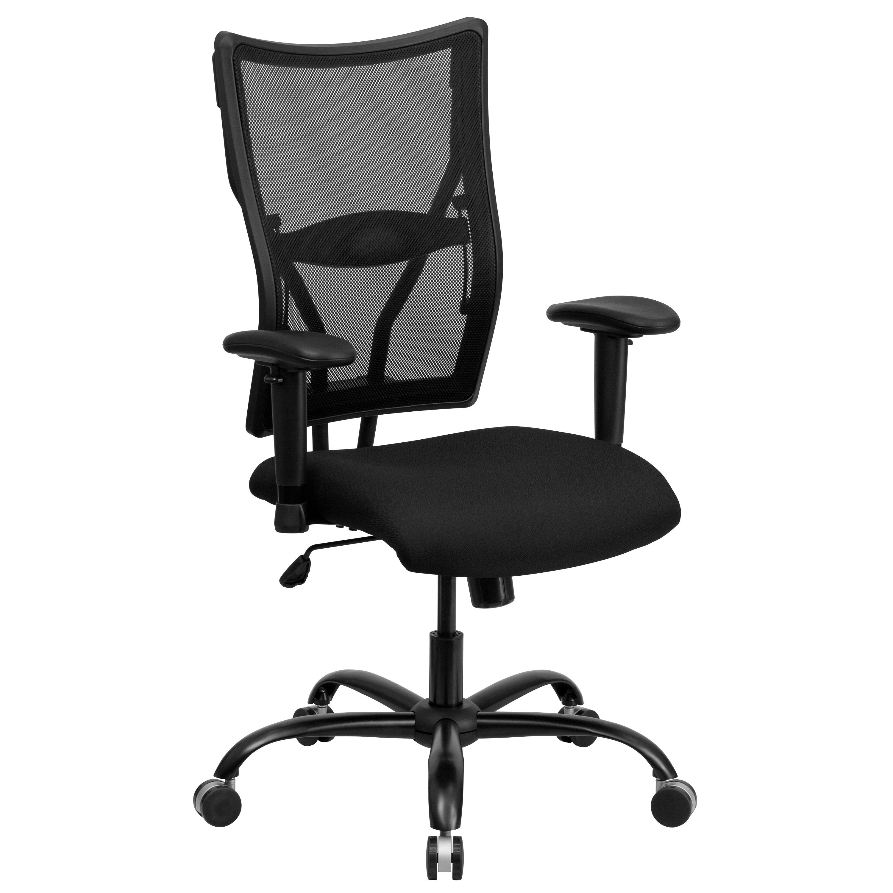 Flash Furniture WL-5029SYG-A-GG HERCULES Series Big & Tall Black Mesh Office Chair with Arms, 400 Lb. Capacity