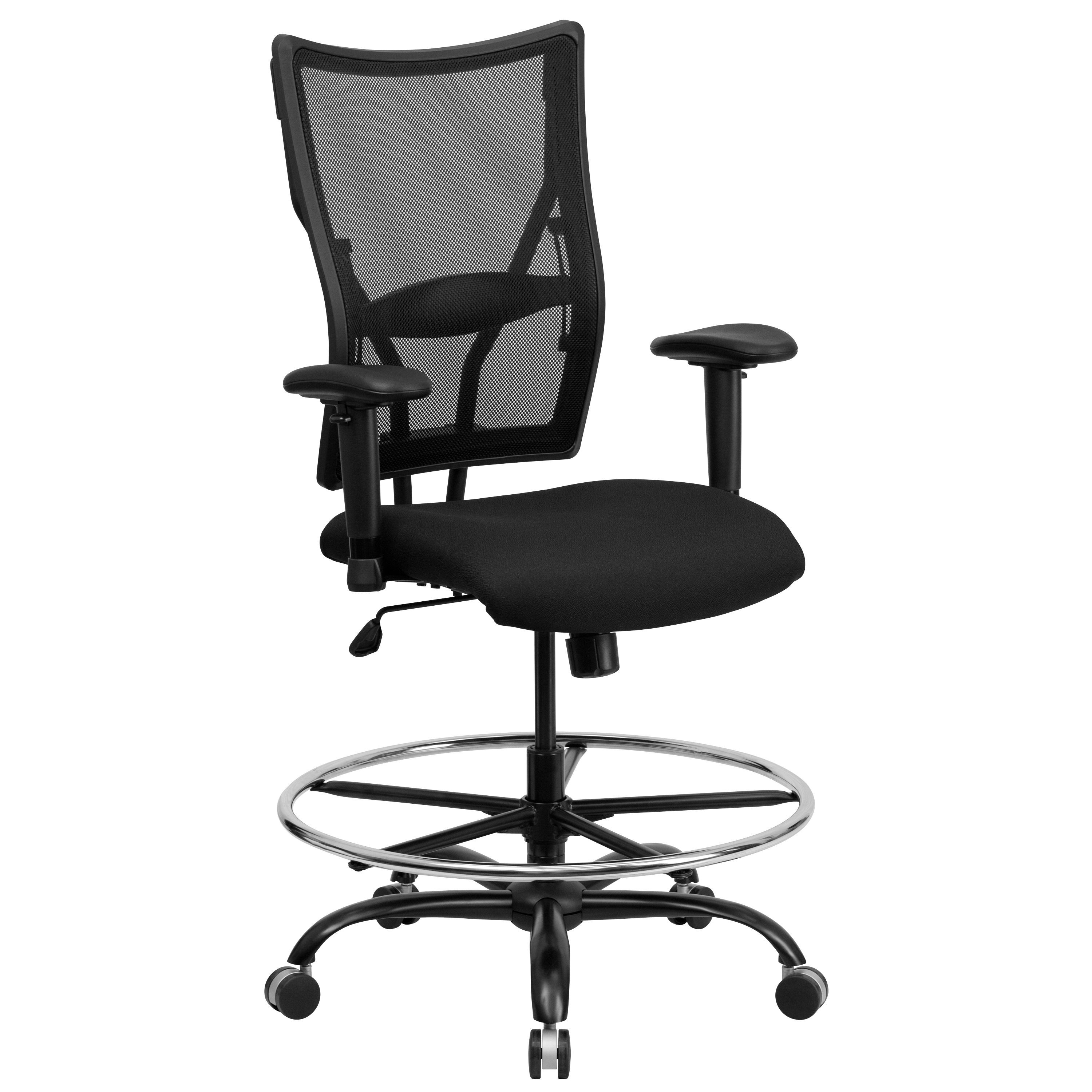Flash Furniture WL-5029SYG-AD-GG HERCULES Series Big & Tall Black Mesh Drafting Stool with Arms, 400 Lb. Capacity