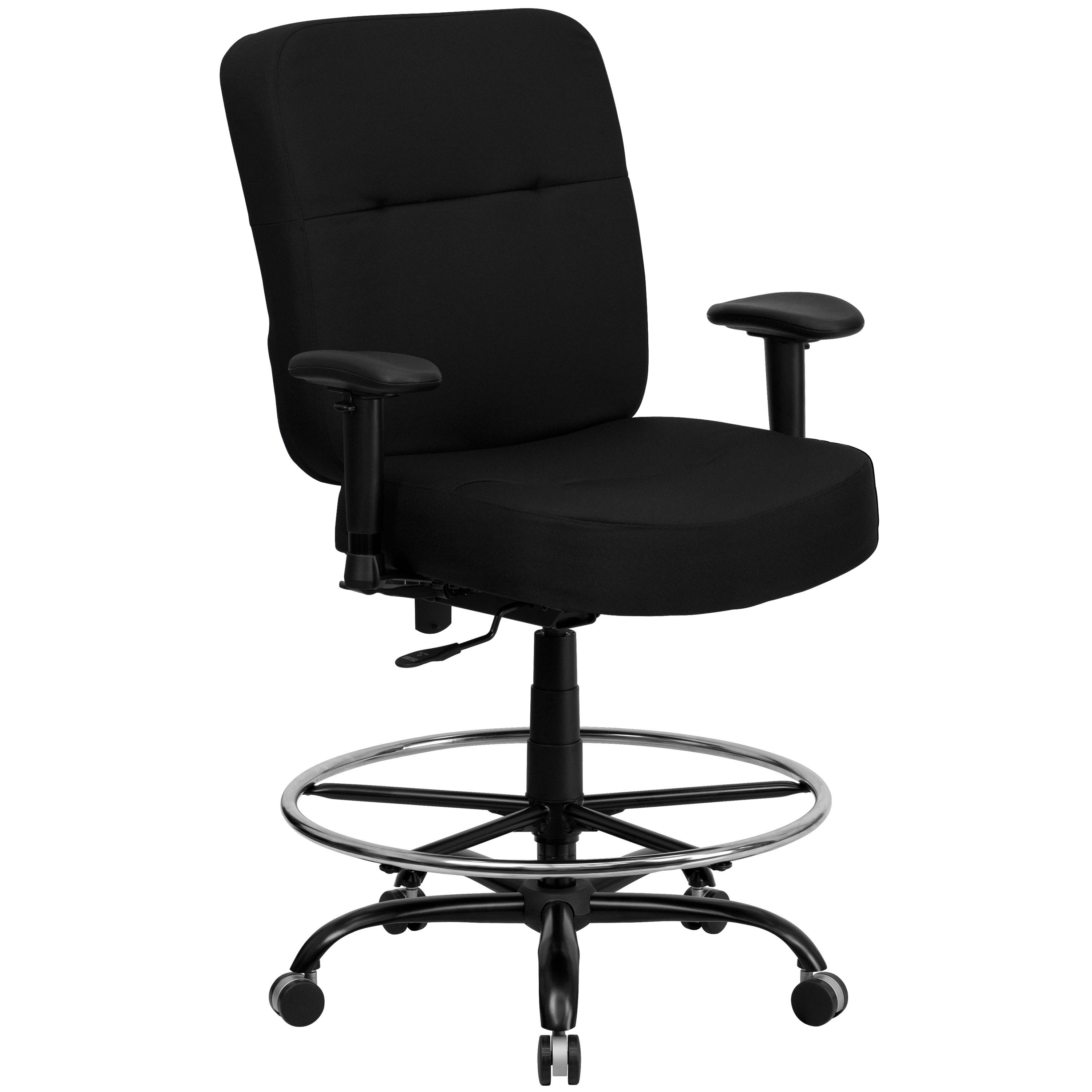 HERCULES Series 400 lb. Capacity Big & Tall Black Fabric Drafting Stool with Arms and Extra WIDE Seat