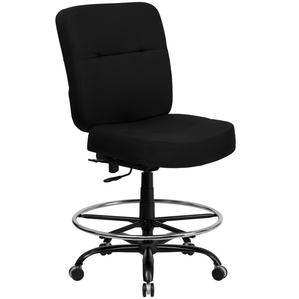 Flash Furniture WL-735SYG-BK-D-GG HERCULES Series 400 Lb. Capacity Big & Tall Black Fabric Drafting Chair with Extra Wide Seat