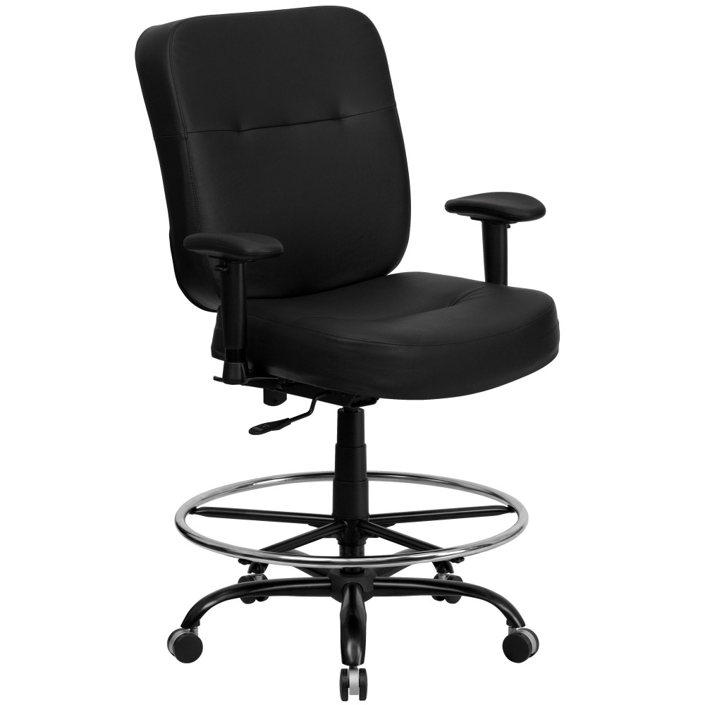 HERCULES Series 400 lb. Capacity Big & Tall Black Leather Drafting Stool with Arms and Extra WIDE Seat