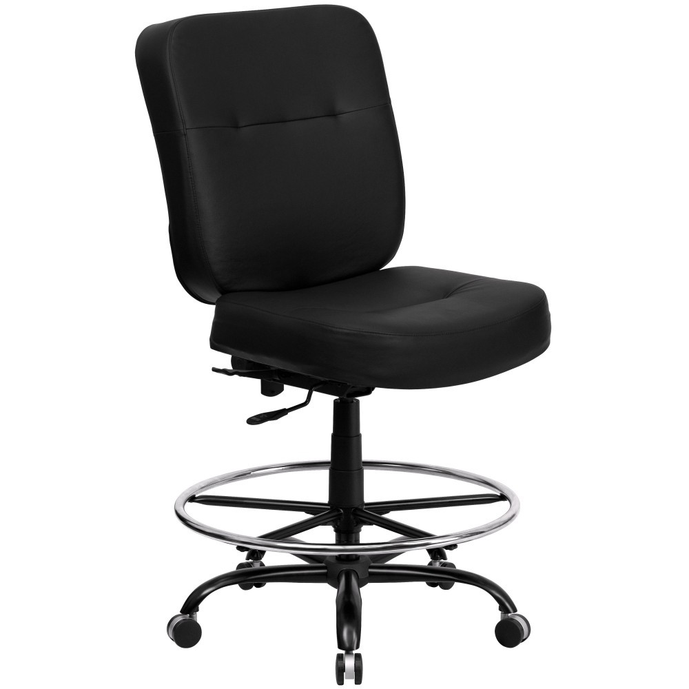 Flash Furniture WL-735SYG-BK-LEA-D-GG HERCULES Series 400 Lb. Capacity Big & Tall Black Leather Drafting Chair with Extra Wide Seat